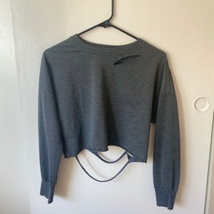 ✨distressed gray long sleeve crop top from Shein ✨